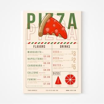 평평한 소박한 피자 레스토랑 메뉴