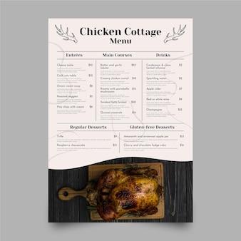 Menu ristorante rustico piatto con foto Vettore gratuito