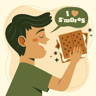 Плоский десерт s'mores, иллюстрированный