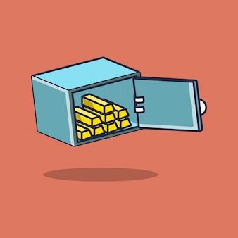 Flat safe deposit box illustration