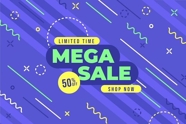 Flat sale background with mega sale discount