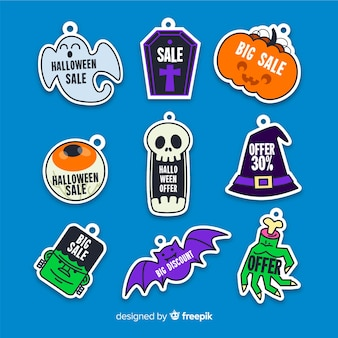 Flat sale badge with halloween creatures