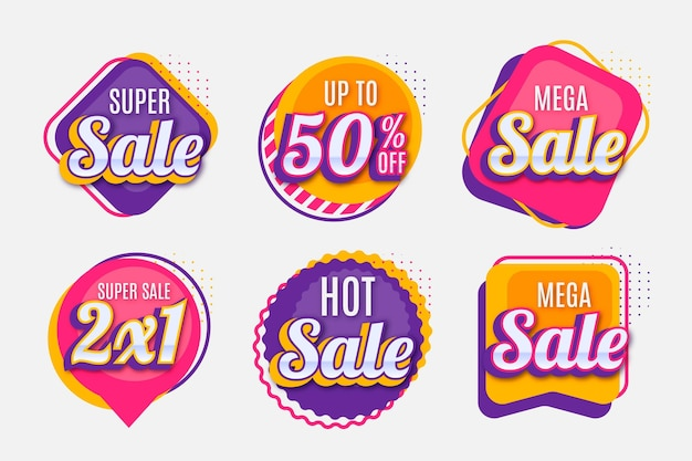 Коллекция значков плоских распродаж