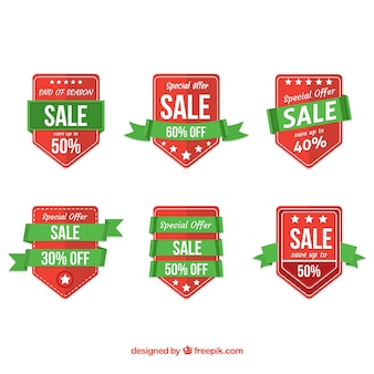 Flat sale badges with ribbon