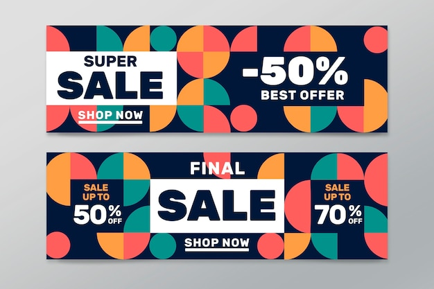Flat sale banner design template