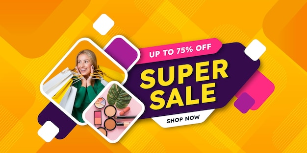 Flat sale banner with photo