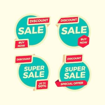 Коллекция стикеров flat sale banner для рекламы и продвижения