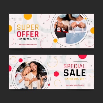 Flat sale banners set with photo