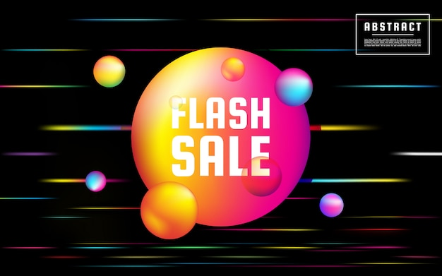 Flat sale discount neon background with liquid, abstract light background