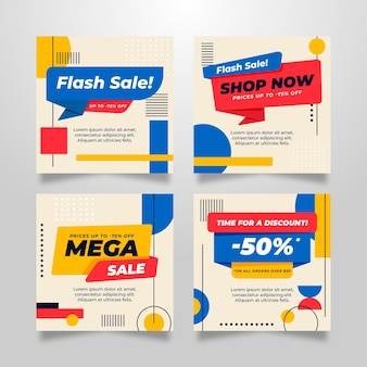 Flat sale instagram post collection Free Vector