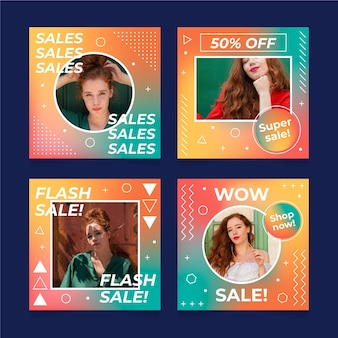 Flat sale instagram posts collection with photo