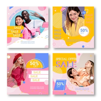 Flat sale instagram posts with photo template