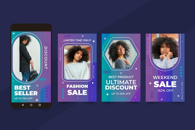 Flat sale instagram stories collection with photo