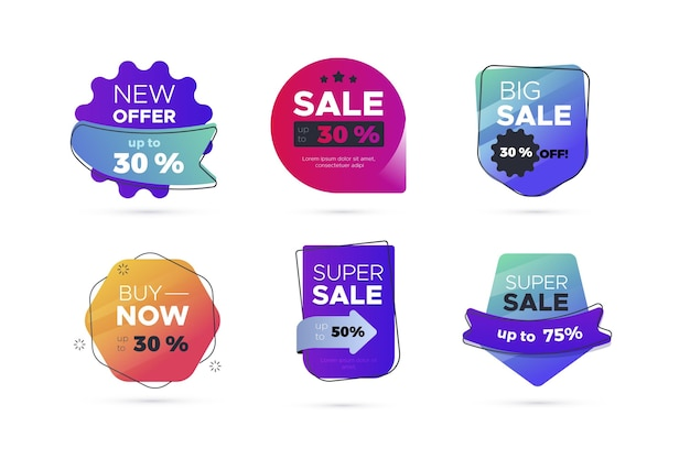 Flat sale label collection Free Vector
