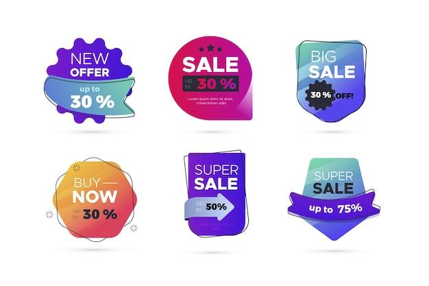 Collezione di etichette di vendita piatta