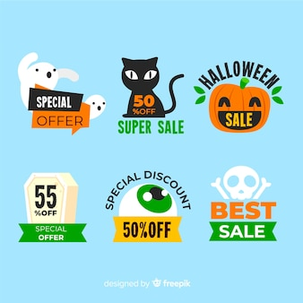 Flat sale label with halloween creatures