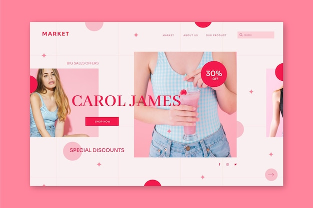 Flat sale landing page template with photo