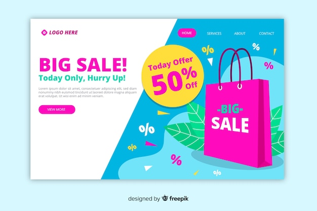 Flat sale landing page template