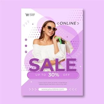 Шаблон плаката плоской продажи со скидкой