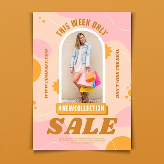 Flat sale poster template with discount