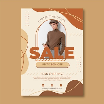 Flat sale poster with photo template