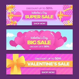 Плоская распродажа валентинки
