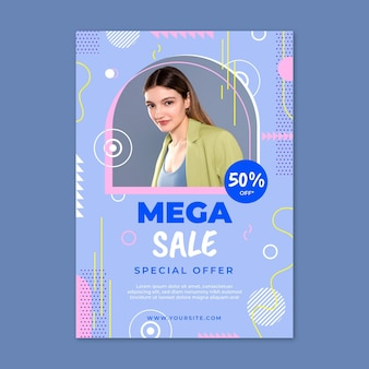 Flat sale vertical poster template with photo