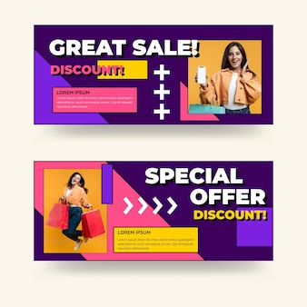 Flat sales banners with discount