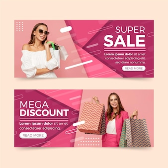 Flat sales banners with mega discount