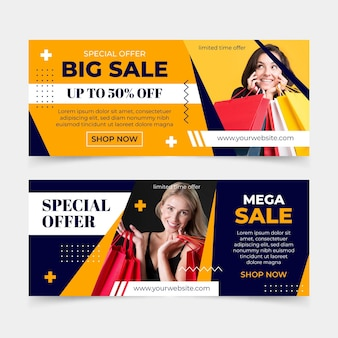 Flat sales banners with offer