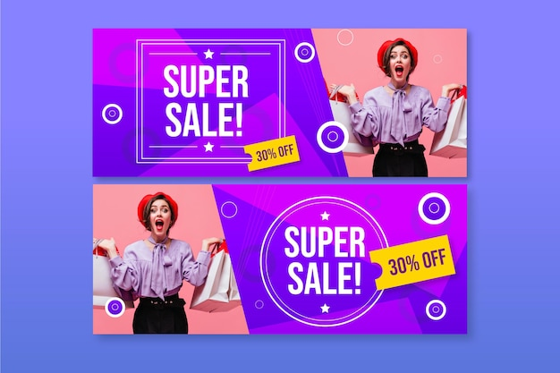Flat sales banners with photo