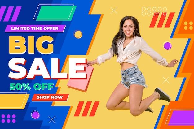 Banner di vendita piatto con foto