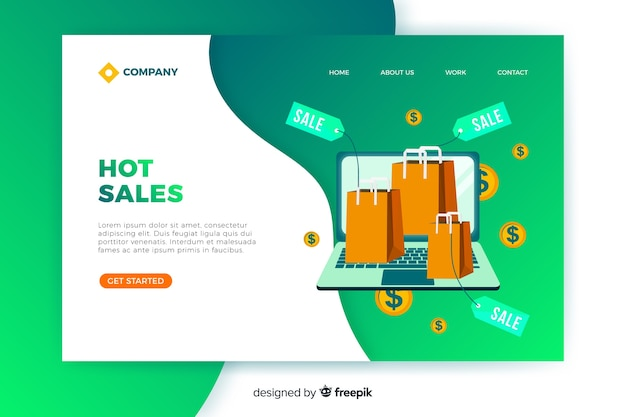 Flat sales landing page template