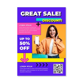 Flat sales poster template with photo