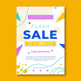 Flat sales poster template