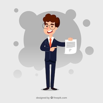 Flat salesman character holding contract document