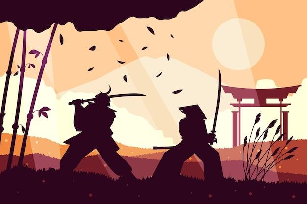 Sfondo piatto samurai illustrazione