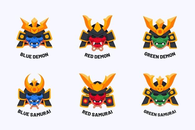Collezione logo piatto samurai