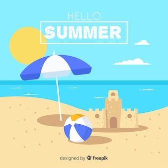 Flat sand castle summer background