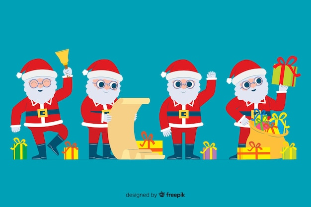 Flat santa claus character collection on blue background