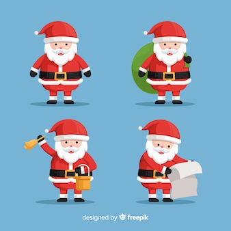 Flat santa claus character collection