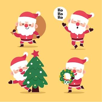 플랫 산타 클로스 캐릭터 컬렉션