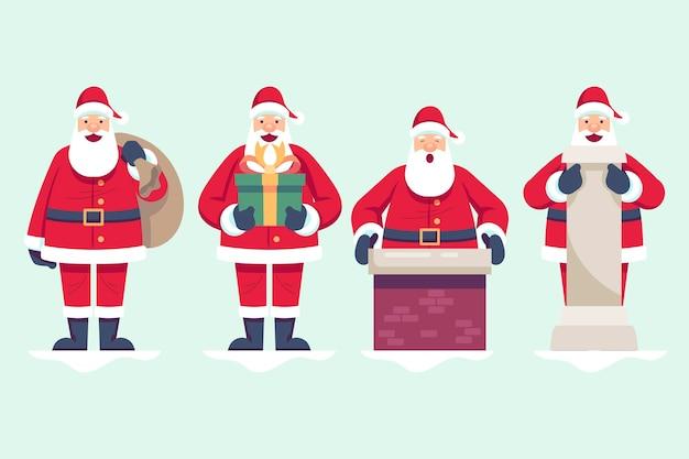 Flat santa claus character collection