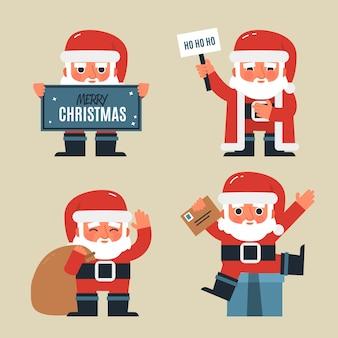Flat santa claus character pack