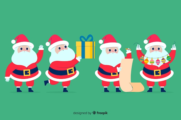 Flat santa claus character set