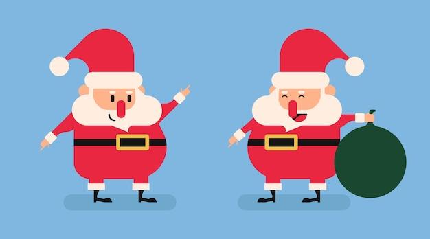 Flat santa claus characters . illustration of santa claus