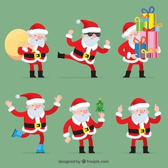 크리스마스 개체와 평면 산타 클로스 컬렉션