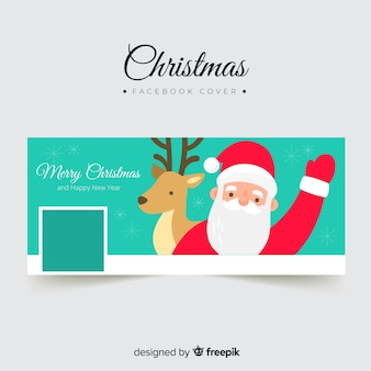 Flat santa claus facebook cover