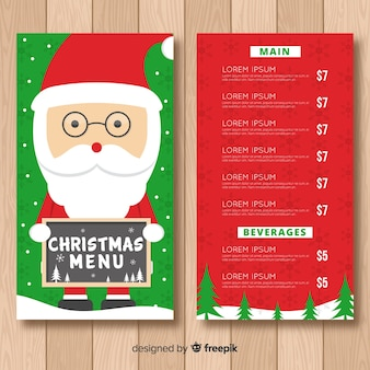 Flat santa claus holding sign menu template