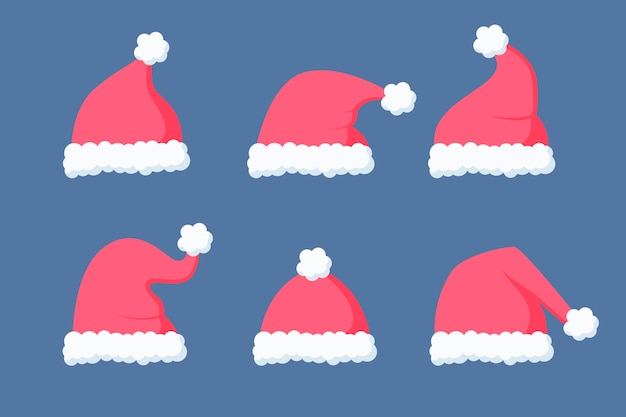 Flat santa's hat collection